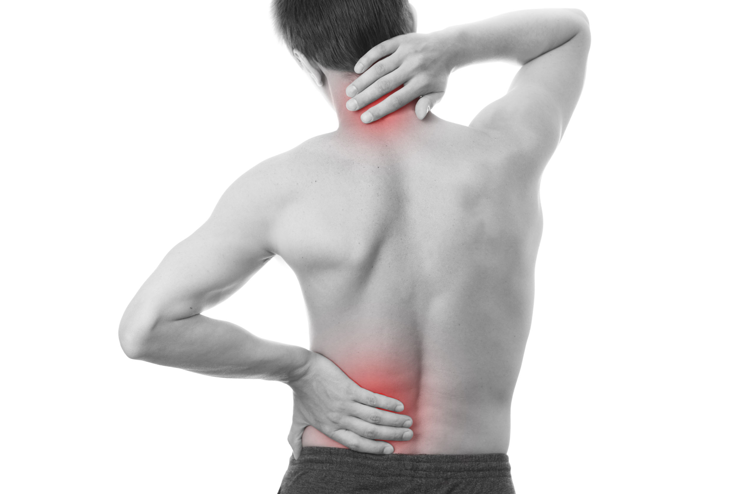 27217396 – back pain in men. touching the neck.